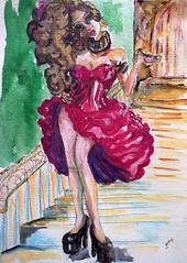 2016_006_WC_2_MADAME DELIGHT (jaimsart) Tags: original art erotic sexy seductive woman red staircase stairwell highheels jaims saatchi saatchiart watercolour painting