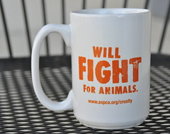 Will Fight For Animals (Veee Man) Tags: gimp nikond5000 lasvegas nevada metal black chair cup coffeemug white orange aspca americansocietyforthepreventionofcrueltytoanimals