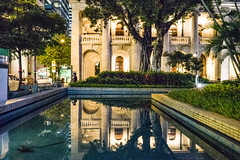 Court of Final Appeal Building (Kai-Ming :-))) Tags: kaiming kmwhk thecourtoffinalappealbuilding hongkong central jacksonroad statuesquare iso6400 night longexposure light stareffect pool sony reflection ilce7m2 tree building declaredmonuments