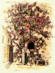 The tree in the corner of the courtyard (leigh-kemp.pixels.com) Tags: tree courtyard painterly mellieha malta leighkempphotoart sharingart