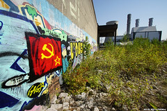 Back in the USSR (Red Cathedral is offroad + off-grid in les Pyrn) Tags: sonyalpha a77markii a77 mkii alpha sony sonyslta77ii slt evf translucentmirrortechnology redcathedral graffiti streetart urbanart contemporaryart urbex belgium alittlebitofcommonsenseisagoodthing oostkaai brussel bruxelles brussels trespass ruisbroek anderlecht ussr motherrussia red rood communist hammer sickle star