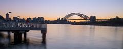 Dawn view from Balmain East Wharf (12/36 Sydney Harbour Bridge) (astrogirl969) Tags: balmaineast dawn morning sunrise water harbour wharf fujifilm fujifilmxf1855f284r haidandfilters nd64 longexposure colour blue orange xe1 iwps outing 10faves 500views sydneyharbourbridge