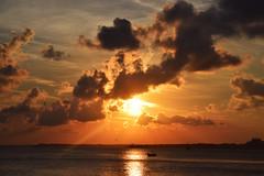 Sea Sunset (preslava981) Tags: sea sunset sky clouds sun yellow warm bright boat reflection water shine beautiful nature landscape nikon