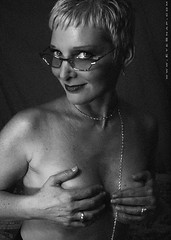 brenda-00263 (EYEsnap_Photography) Tags: blackandwhite portrait glasses glamour topless sexy brenda