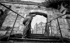 Ripon . (wayman2011) Tags: fujifilmx70 lightroom wayman2011 bwlandscapes mono people phographers cathedrals walls gates steps yorkshire northyorkshire ripon uk