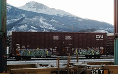 cold morning out on the bench (YardJock) Tags: railroad snow cold outdoors graffiti tracks boxcar decor hoser nwk bhg benching paintedsteel benchreport