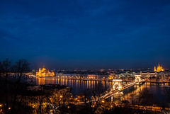 Pest at Night (SMSidat) Tags: city bridge water skyline night river hungary gothic budapest parliament danube