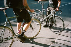 JP and Storts / Mars Cycles and Specialized Langster Pro (rdrey) Tags: california mars usa film coffee bike bicycle 35mm four san francisco track kodak barrel olympus pro stylus portra epic cycles specialized 160 langster