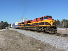 NS 220 in Waco, GA (RedneckRailfan610) Tags: city railroad ga georgia waco god ns district norfolk east southern end kansas redneck railfan kcs emd intermodal sd70ace kcs4104 kcs4056 february2015