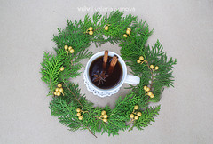 Christmas tea (lvaivl) Tags: christmas xmas stilllife white cup canon gold golden daylight cozy natural tea drink folk cinnamon decoration objects wreath spicy organic christmasdecor homedecor authentic viewfromabove christmaswreath onthetable blacktea staranis setthetable livefolk