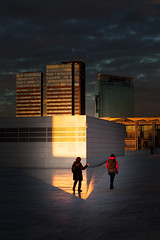 (Svein Skjåk Nordrum) Tags: roof sunset shadow sky color building oslo wall architecture dark walking opera bright oslooperahouse