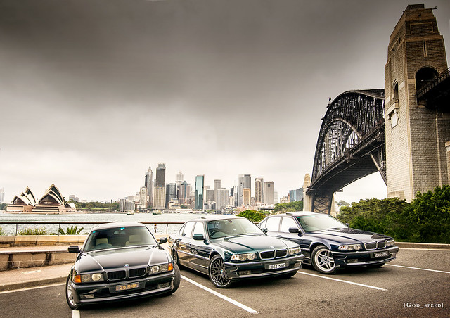 city bridge blue sky black green car dark view cloudy sydney scenic overcast australia scene lookout limo oxford bmw parked beamer orient scape picturesque luxury cosmos limousine 7series beemer sapphire bimmer 750 7er 740 e38 740il
