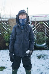 Snow bandit! (Robert L Whitehead) Tags: winter snow ice frost snowball wellies snowsuit waterproofs