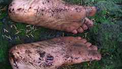 Tough soles (bfe2012) Tags: boy feet nature wet leaves forest woodland foot freedom toes hiking indian dirty dirt swamp barefoot strong barefeet hiker tough muddy marshland ankles anklets barefooted barfuss muddyfeet barefooting dirtyfeet barefoothiking barefooter baresoles