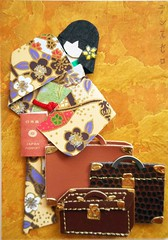 ACEO35 - Traveling geisha (tengds) Tags: travel flowers brown green yellow gold purple luggage card aceo kimono obi passport ochre origamipaper artcard suitcases papercraft japanesepaper washi ningyo handmadecard chiyogami yuzenwashi japanesepaperdoll washidoll origamidoll kimonodoll japanesepassport tengds