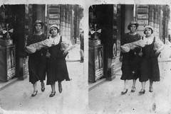 Two ladies in a French street (vintage ladies) Tags: street ladies portrait people blackandwhite woman france hat lady female vintage french fan women shoes dress hats streetphoto 20s 20slady 20swoman 20sladies 20swomen