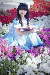 Alice (Jay-c de Lente) Tags: blue portrait girl fashion photography book alice apron eatme teaparty qatar aliceinwonderland drinkme bluedress