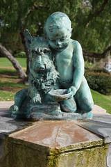 Boy with Dog (ponzü) Tags: california boy sculpture dog art water fountain architecture bronze stat publicart lagunabeach lrexportviajf