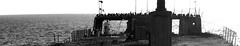 Cement Ship (ethanabelar) Tags: ocean old blackandwhite bw santacruz abandoned beach birds coast pier boat seaside ss seacliff palo alto warship aptos cementship abandonedship wahrf oldwarship