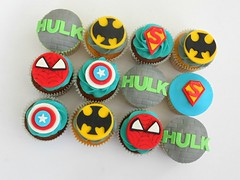 Super Hero Cupcakes (Fairy Dust Bakery) Tags: america logo spiderman super cupcake captain hero superhero batman hulk fondant picmonkey