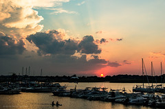 Town River Bay sunset (alohadave) Tags: bay massachusetts northamerica pentaxk5 places puffyclouds quincy sky sunset townriverbay townriveryachtclub unitedstates water smcpda1650mmf28edalifsdm