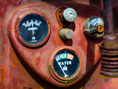 Farmall Gauge Cluster and Controls (Sky Noir) Tags: red tractor cluster rusty controls gauge rule crusty survivor farmall