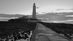 St. Mary's Lighthouse - Black and White Dawn (Gilli8888) Tags: whitleybay sunrise lighthouse stmaryslighthouse tyneandwear dawn clouds sky light batesisland coast eastcoast northsea coastline seascape silhouette