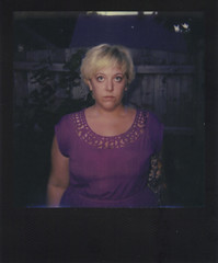 Day 073 (H o l l y.) Tags: impossible project polaroid analog film instant flash photo color girl purple blonde self portrait fashion tattoo shadow nature black frame retro indie vintage blast happy