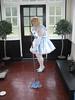 CIMG6826 (sissybarbie1066) Tags: baby satin sissy maid uniform blue mopping garden room floor sissymaid