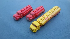Esso and Shell trucks (Kingjayko) Tags: lego 187 esso shell truck van oil indicator lights
