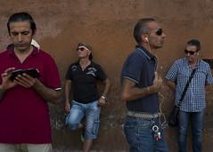 Four men, Rome. (Blinkofanaye) Tags: street blue red italy orange rome roma men wall photography europe italia candid it
