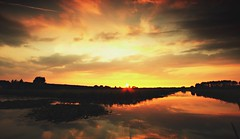 Summer sunset (M a u r i c e) Tags: trees sunset summer sky sun sunlight color colour nature water netherlands sunshine reflections evening canal pond utrecht cloudy dusk silhouettes wideangle sunrays polder sunbeams maarssen efs1022mm ultrawidezoom