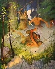 """""""The Fight in the Forest"""" by N. C. Wyeth from """"The Last of the Mohicans"""" by James Fenimore Cooper. NY: Scribner's, 1919. First edition (lhboudreau) Tags: book books hardcover hardcovers hardcoverbook hardcoverbooks vintagebook vintagebooks classicbook classicbooks classicnovel classicstory art artist illustrator illustrated illustration illustrations drawing drawings illustratedbook illustratedbooks illustratedclassics bookart wyeth ncwyeth 1919 illustratedclassic vintageillustration vintageillustrations classicillustrator classicillustrations vintagebookillustrations vintagebookillustration lastofthemohicans mohicans thelastofthemohicans cooper jamesfenimorecooper fenimore uncas frenchandindianwar 1757 nattybumppo hawkeye chingachgook americanindian americanindians nativeamerican nativeamericans indians indian charlesscribnerssons scribners charlesscribners firstedition fiction forest fight battle"""