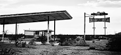the lost retreat... (BillsExplorations) Tags: route66 abandoned ruins neglect discarded forgotten decay roadrunnersretreat retreat reststop gasstation servicestation restauarant chambless california old vintage blackandwhite monochrome desert restoration