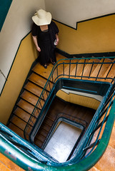 'Waiting for Godot' (Canadapt) Tags: woman portugal hat stairs corner lisbon down staircase banister alfama canadapt