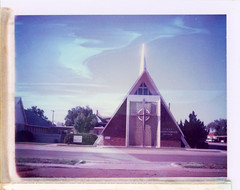 Tucumcari, NM (moominsean) Tags: polaroid 190 instant type669 expired112002 newmexico tucumcari southwest church firstpresbyterian morning