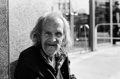 richard (MitchBoudreau) Tags: blackandwhite portrait happy streetphotography monochrome depthoffield people human 35mm 35mmfilm film bw city outside sun contrast vintagelens prime 50mm iso100 joy