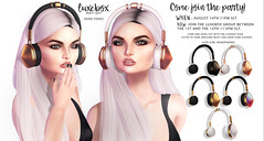 Foxes Luxebox August Gift Poster (Dani @ Birdy/Foxes/Alchemy) Tags: sl secondlife luxebox luxe headphones gift mesh foxes party