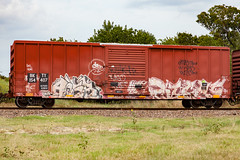 (o texano) Tags: houston texas graffiti trains freights bench benching acer night