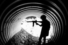 Tunnel Vision (Thomas Hawk) Tags: angelesnationalforest bigtujungacanyon california jack jackpeterson jackson jacksonpeterson losangeles usa unitedstates unitedstatesofamerica bw gun toy toygun tunnel fav10 fav25