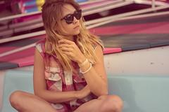 Wait (Kristen Palatella) Tags: girl model pretty beauty beautiful wind beach boardwalk nj newjersey pointpleasant ride rides fair pink blue sunglasses raybans blonde windy plaid
