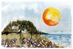 Surfers Cove (Tonya Doughty) Tags: painting ocean beach seaside sun watercolor