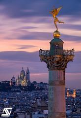 From Bastille to Montmartre (A.G. Photographe) Tags: anto antoxiii xiii ag agphotographe paris parisien parisian france french franais europe capitale bastille montmartre sacrcoeur basilique gniedelalibert colonnedejuillet d810 nikon sigma 150600 sunset heurebleue