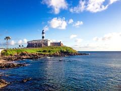 Farol da Barra (Victor Muinhos) Tags: city praia beach sunset water travel clouds azul cu farol mar sol salvador verde vero oceano light green brazil bahia sun