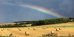 Pot of Gold (cotswoldman) Tags: wiltshire rainbow rainclouds colour landscape downs gloucestercameraclub haybales hay harvest