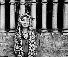 Human (doyoubleedlikeme) Tags: faux fauxfur brunette woman street streetphotography hat bristol olympus mju 2 ilfordxp2super400 film analog analogue blackwhite nineteen68