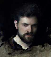 Jordan Sokol — Eddie, 2016. Painting: oil on panel, 13 x 12 in.. Male PortraitsPhotorealismMoody (ArtAppreciated) Tags: fineart painting blogs tumblr artblogs artappreciated artoftheday artofdarkness artofdarknessco artofdarknessblog jordan sokol 2016 art date2016 hyperrealism photorealism male portraits dark gloomy moody looking away portraiture figurative contemporary american artists 2010s realism technique