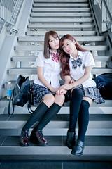 LinLin & Vika (Jimmy Chuah) Tags: school portrait girl beauty lady model singapore uniform staircase taiwanese vika 2014 linlin marinabarrage