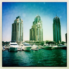 Dubai Marina 2 (sonofwalrus) Tags: water marina buildings boats dubai uae middleeast unitedarabemirates dubaimarina iphone  hipstamatic