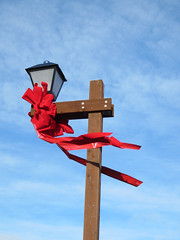 2014 #355 (danieljsf) Tags: california christmas red holiday lamp post wind belmont decoration windy blowing blow ribbon